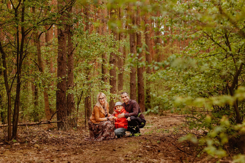 Sesja rodzinna w lesie, Justyna, Mikołaj i Błażej