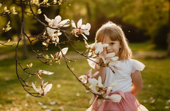 Sesja rodzinna wśród kwitnących magnolii